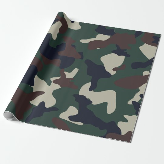 Green Brown woodland camo camouflage pattern Wrapping Paper