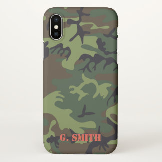 Green Brown Woodland Camouflage. Camo your iPhone X Case