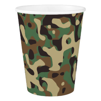 Green Brown Woodland Camouflage. Camo your Paper Cup