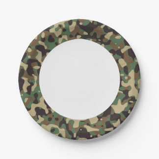 Green Brown Woodland Camouflage. Camo your Paper Plate
