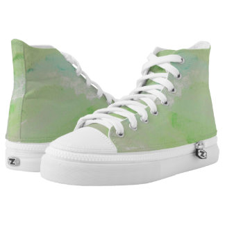 Green Brush Strokes Hi Top Printed Shoes