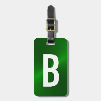 Green Brushed Metallic Monogram Initial Luggage Tag
