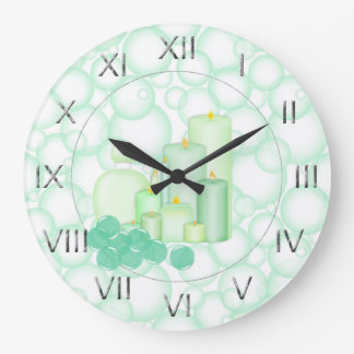 Green Bubble Candle Bathroom Large Clock