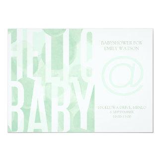 Green Bubble Watercolour Babyshower Invitation