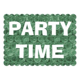 Green bubble wrap invitation