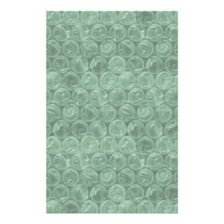 Green bubble wrap pattern personalised stationery