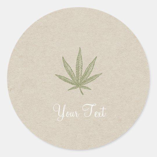 Green Bud Leaf Kraft Natural Wedding Favour Classic Round Sticker