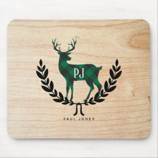 Green Buffalo Plaid Monogram Stag Mouse Pad
