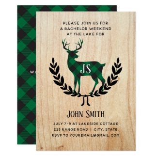 Green Buffalo Plaid Stag Monogram Bachelor Party Card