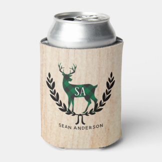 Green Buffalo Plaid Stag Monogram Can Cooler