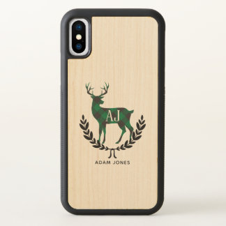 Green Buffalo Plaid Stag Monogram iPhone X Case