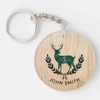Green Buffalo Plaid Stag Monogram Key Ring