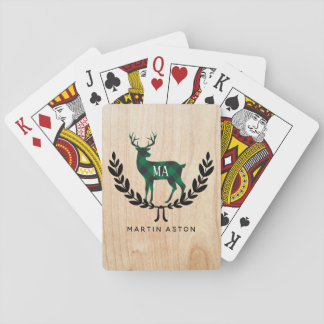 Green Buffalo Plaid Stag Monogram Playing Cards
