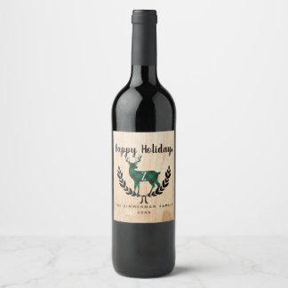 Green Buffalo Plaid  Stag Monogram Wine Label