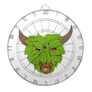 Green Bull Head Drawing Dartboard