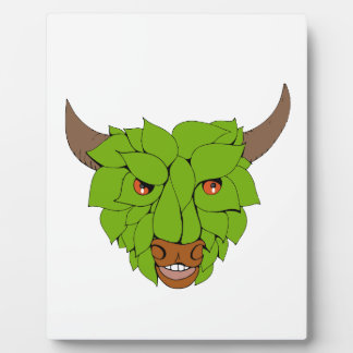 Green Bull Head Drawing Plaque