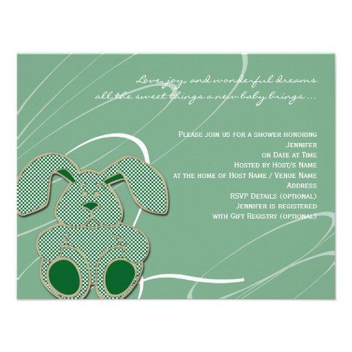 Green Bunny Baby Shower Invitation