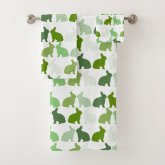 Green Bunny Easter Spring Bunnies Rabbit Bath Towel Set