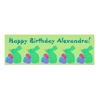 Green Bunny Easter Themed Birthday Party Banner Poster