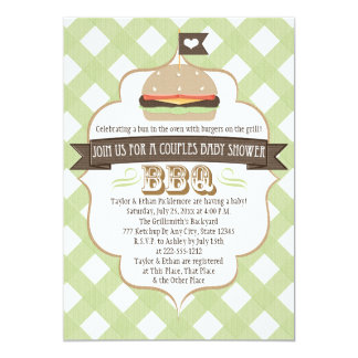 Green Burger Couples BBQ Baby Shower Invitations