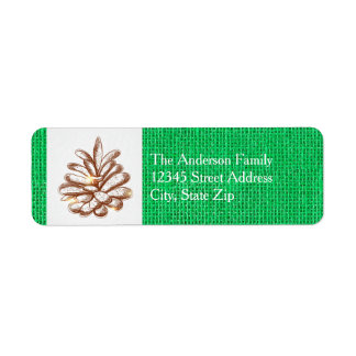 Green Burlap Pinecones Photo - Address Label