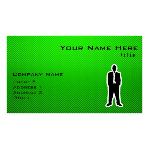 Green Business Suit Business Card Templates