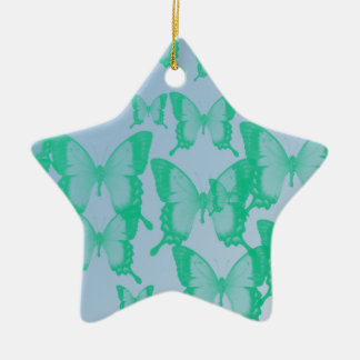 green butterflies in blue background ceramic ornament