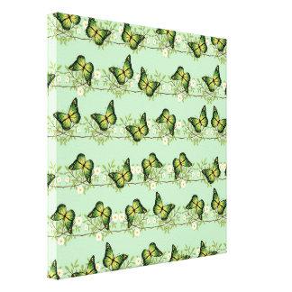 Green butterflies pattern canvas print