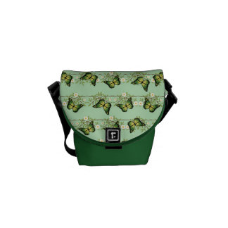 Green butterflies pattern commuter bags