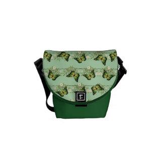 Green butterflies pattern commuter bags