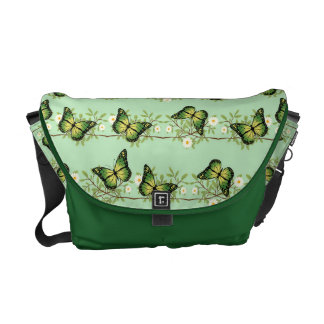 Green butterflies pattern courier bag