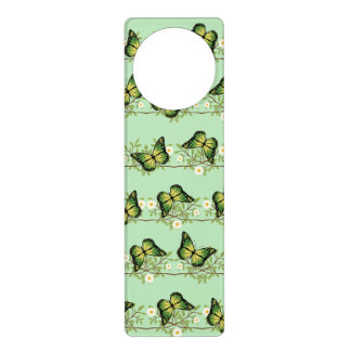 Green butterflies pattern door hanger
