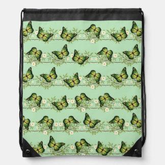 Green butterflies pattern drawstring bag