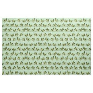 Green butterflies pattern fabric