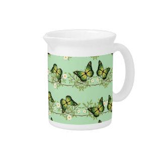 Green butterflies pattern pitcher