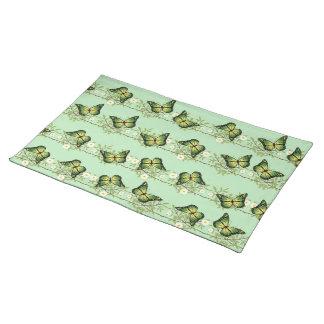 Green butterflies pattern placemat