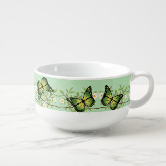 Green butterflies pattern soup mug