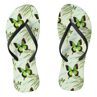 Green Butterfly and Palm Fronds Thongs