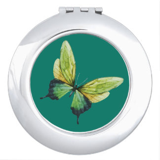 Green Butterfly Compact Mirror