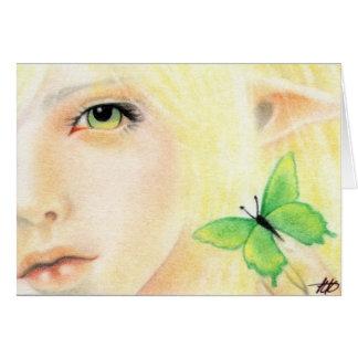 Green Butterfly Fairy Card