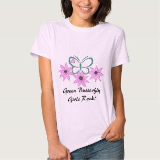 Green Butterfly Girls Rock! T-shirts
