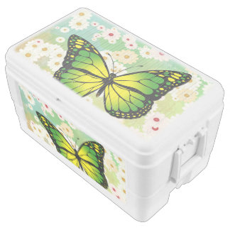Green butterfly ice chest