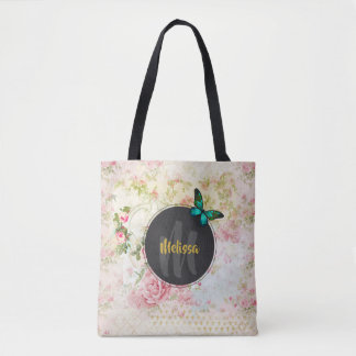Green Butterfly on Chic Vintage Collage Monogram Tote Bag