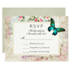 Green Butterfly on Vintage Collage Wedding RSVP Card