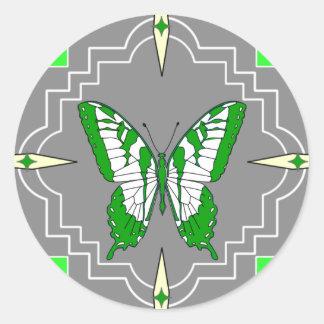 Green Butterfly Round Sticker