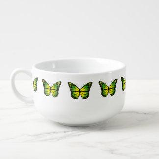 Green butterfly soup mug