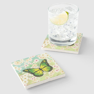 Green butterfly stone coaster