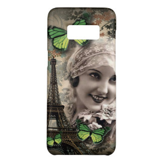 Green Butterfly Vintage Girl Paris Eiffel Tower Case-Mate Samsung Galaxy S8 Case
