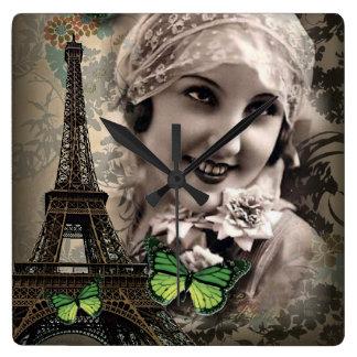 Green Butterfly Vintage Girl Paris Eiffel Tower Wallclocks