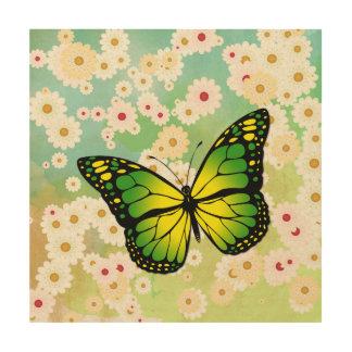 Green butterfly wood wall art
